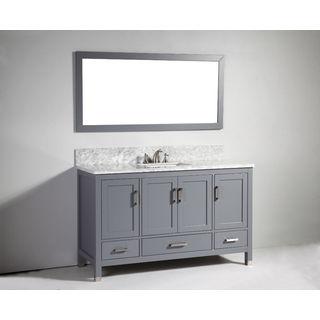 Legion Furniture 60-inch Dark Grey Solid Wood Single Sink Vanity Set with Mirror