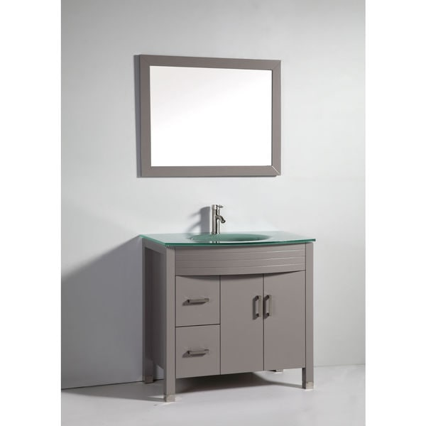Legion Furniture 36 Inch Light Grey Solid Wood Single Sink Vanity Set With Faucet And Mirror