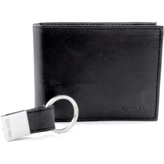 Calvin Klein Men's Leather Wallet and Keychain Set