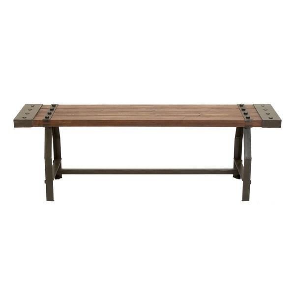 Rustic Wood Bench : Rustic Industrial-inspired Wood Bench - 17499290 - Overstock.com ...