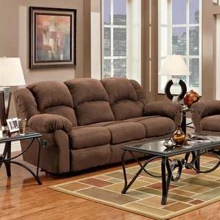Aruba Microfiber Dual Reclining Sofa, Chocolate