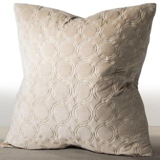 Chauran Meridian Sand Beige Embroidered Luxe Velvet Euro Sham