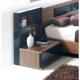 Luca Home Black and Brown Nightstand