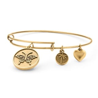 PalmBeach Goldtone Butterfly Tailored Charm Bracelet