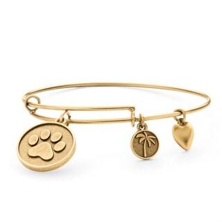 PalmBeach Goldtone Paw Print Tailored Charm Bracelet