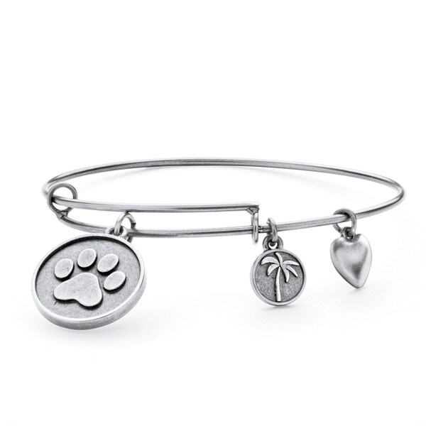 PalmBeach Silvertone Paw Print Tailored Charm Bracelet