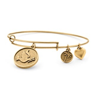 PalmBeach Goldtone Dove of Peace Tailored Charm Bracelet