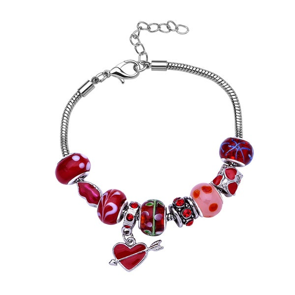 La Preciosa Silvertone Red Beads and Cupid Heart Charm Bracelet