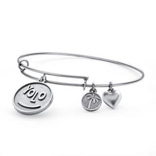 PalmBeach Silvertone YOLO Tailored Charm Bracelet