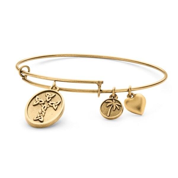 PalmBeach Goldtone Celtic Cross Tailored Charm Bracelet