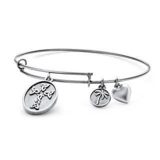 PalmBeach Silvertone Celtic Cross Tailored Charm Bracelet