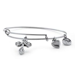 PalmBeach Silvertone Scroll Cross Tailored Charm Bracelet