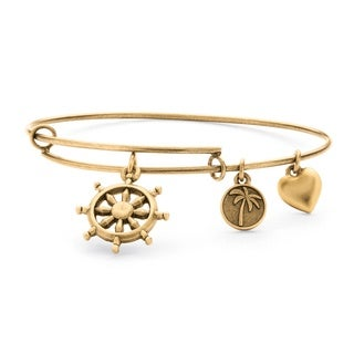 PalmBeach Goldtone Wheel of Life Tailored Charm Bracelet
