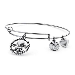PalmBeach Silvertone Fleur-de-Lis Tailored Charm Bracelet