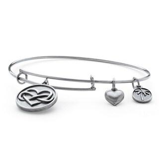 PalmBeach Silvertone Infinity Heart Tailored Charm Bracelet