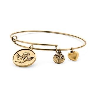 PalmBeach Goldtone Angel Tailored Charm Bracelet