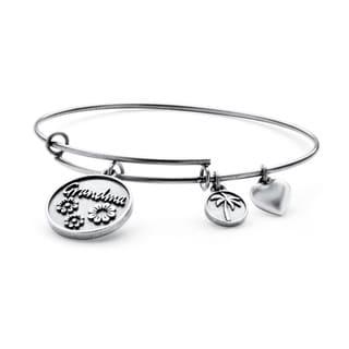 PalmBeach Silvertone Grandma Tailored Charm Bracelet