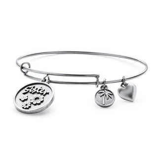 PalmBeach Silvertone Sister Charm Tailored Bangle Bracelet