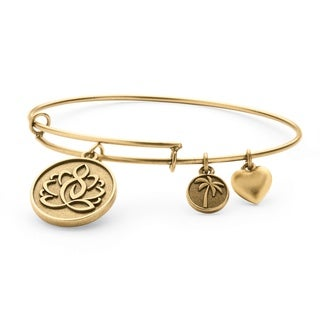 PalmBeach Goldtone Lotus Charm Tailored Bangle Bracelet