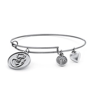 PalmBeach Silvertone Mother Charm Tailored Bangle Bracelet