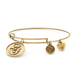 PalmBeach Goldtone Mother Charm Tailored Bangle Bracelet