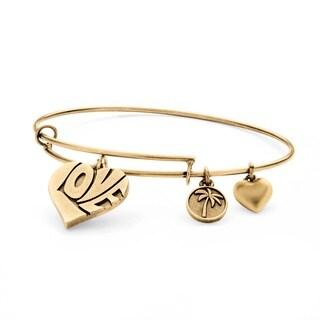PalmBeach Goldtone Love Charm Tailored Bangle Bracelet