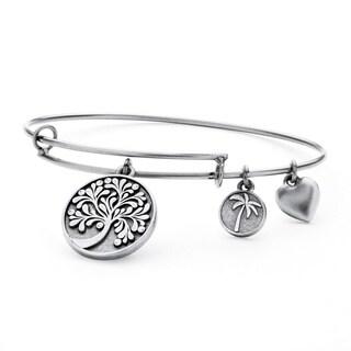 PalmBeach Silvertone Tree of Life Tailored Bangle Bracelet