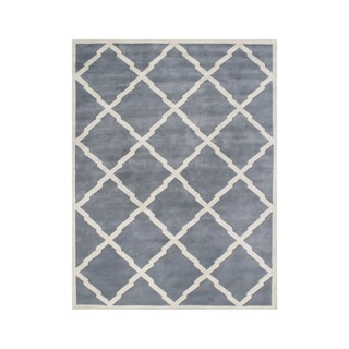 Alliyah Handmade Bluish Grey New Zealand Wool Rug (10' x 12')