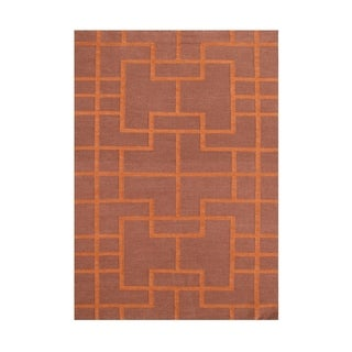 Alliyah Handmade Red Clay Flat Weave Wool Rug (5' x 8')