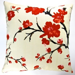 Artisan Pillows Indoor 20-inch Asian Far East Oriental Japanese Red Cherry Blossom Modern Accent Throw Pillow Cover