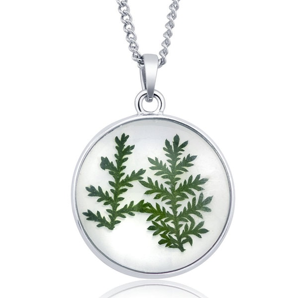 Sterling Silverplated Round Glass Genuine Dry Fern Leaf Necklace