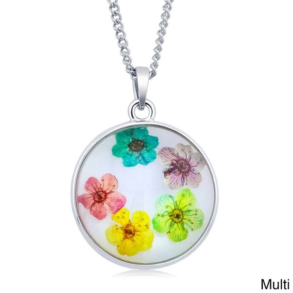 Sterling Silverplated Round Glass Genuine Dry Multi-colored Flowers Necklace