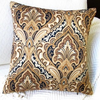 Artisan Pillows Indoor 20-inch European Paisley in Gold Modern Accent Throw Pillow Cover