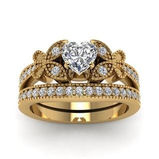 Fascinating Diamonds 14k Yellow Gold 7/8ct TDW Heart-cut Diamond Vintage Bridal Ring Set (G-H, SI1-SI2)