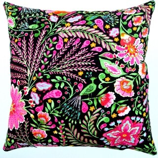 Artisan Pillows Indoor 18-inch Peackock Pink Garden Flowers in Black Modern Cottage Floral Accent Throw Pillow Cover