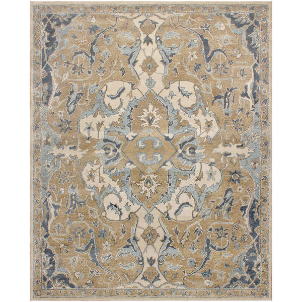 Tile Rug Porcelain Light Blue Wool Rug (8 x 10)