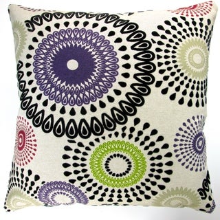 Artisan Pillows Indoor 20-inch Geometric Circles & Dots in Amethyst Modern Abstract Accent Throw Pillow Cover
