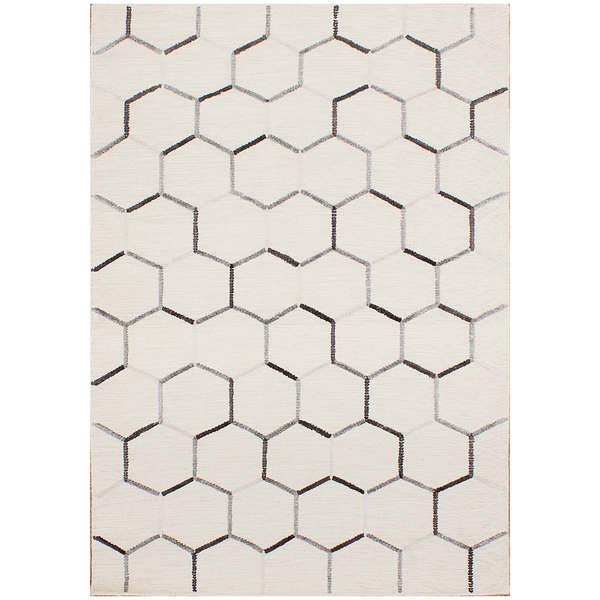Hexa Tile Flat Weave Ivory Wool Rug (8 x 10)