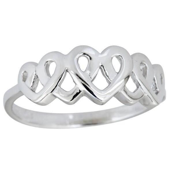 Sterling Silver 5 Interlocking Heart RIng