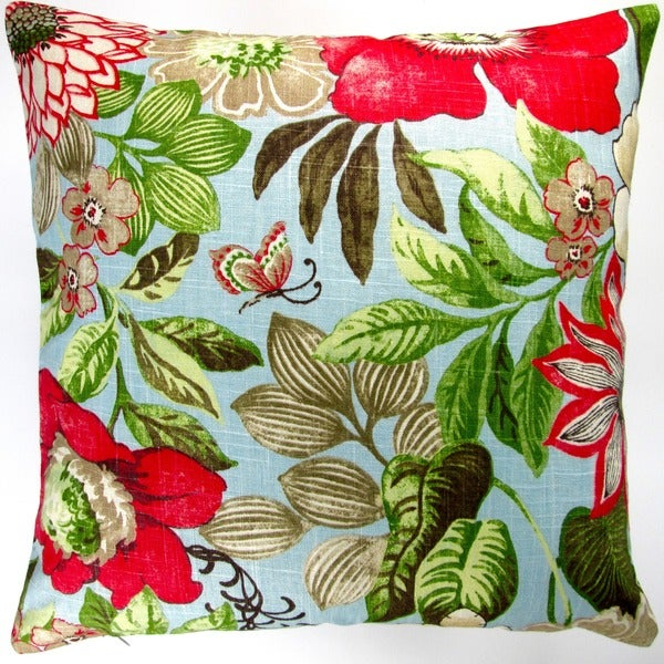 Artisan Pillows Indoor 20-inch Butterfly Garden Flowers in Blue Modern Cottage Floral Accent Throw Pillow