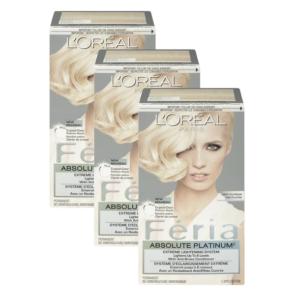 L'Oreal Paris Feria Hair Color Absolute Platinum (Pack of 3)