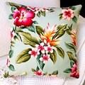 Artisan Pillows Indoor 20-inch Hawaiian Tropical Island Flowers in Mint Coastal Beach Accent Throw Pillow