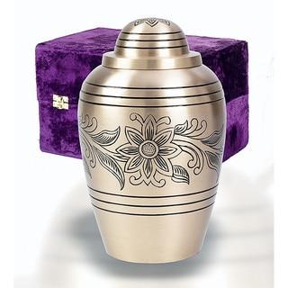 Elegante Brass Bouquet Adult Urn with Case