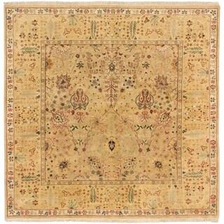 Ecarpetgallery Sultanabad Khaki Wool Open Field Rug Square (9' x 9')