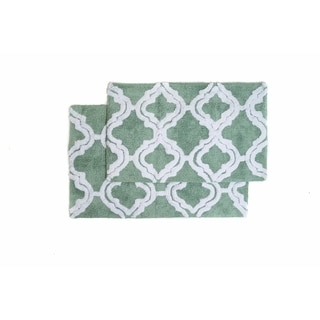 Double Quatrefoil 2-piece Bath Rug Set - Includes BONUS Step Out Mat