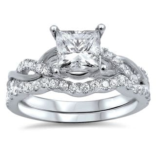 Noori 14k White Gold 1ct TDW Princess-cut Diamond Enhanced Bridal Ring Set (G-H, SI1-SI2)