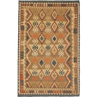 Ecarpetgallery Kashkoli Kilim Camel Wool Geometric Kilim (6'7 x 10')