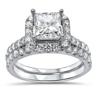 Noori 18k White Gold 1 3/5ct TDW Princess-cut Diamond Enhanced Bridal Ring Set (G-H, SI1-SI2)