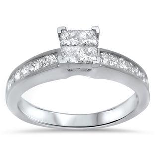 Noori 14k White Gold 5/8ct TDW Princess-cut Diamond Quad Engagement Ring (H-I, I1-I2)