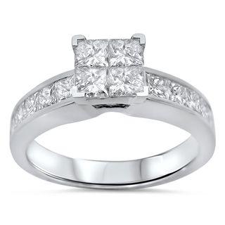 Noori 14k White Gold 1 1/5 ct TDW Princess-cut Diamond Quad Engagement Ring (H-I, I1-I2)